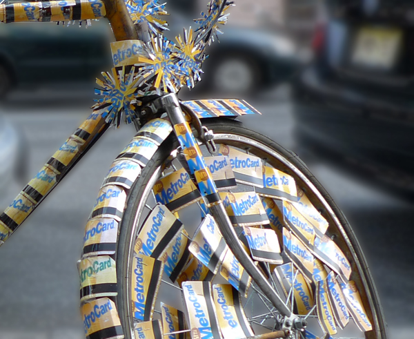 bike decorated with metro cards