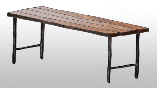 Reclaimed joist table sketch